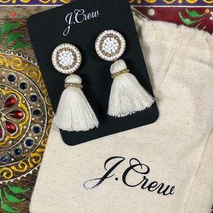 NEW J Crew Statement Earrings White Tassel Beaded